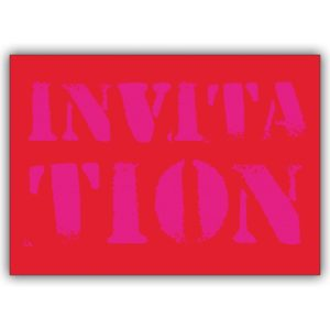 "Rote Party Einladungskarte ""Invitation"""