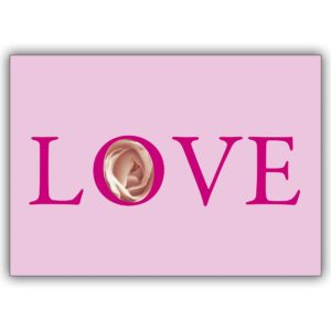 Romantische rosa Love Card mit Rose