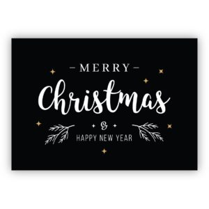 Edle schwarze Lettering Weihnachtskarte: Merry Christmas & happy new year