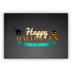 Gruselige Halloweenkarte mit schwarzen Katzen: Happy Halloween Trick or Treat