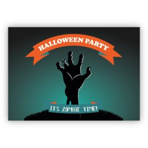 Coole Zombie Einladungskarte zu Halloween: Halloween Parts it's Zombie time