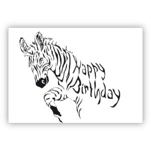 Coole Zebra Geburtstagskarte: Happy Birthday