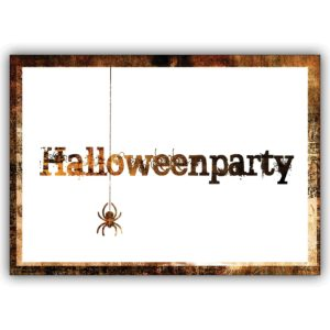 Gruselige Party Einladungskarte zu Halloween mit Spinne: Halloweenparty