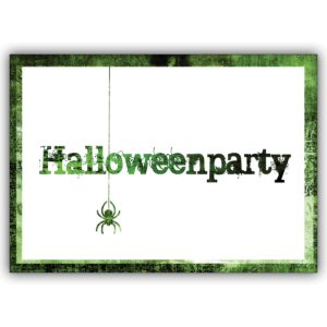 Gruselige grüne Party Einladungskarte zu Halloween mit Spinne: Halloweenparty